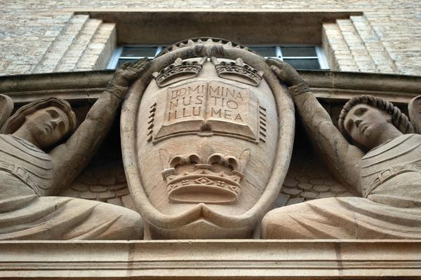 Image taken of Oxford crest on the outside of the Weston Library , image taken looking up at the crest.
